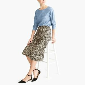 J.crew pull on leopard bias midi skirt